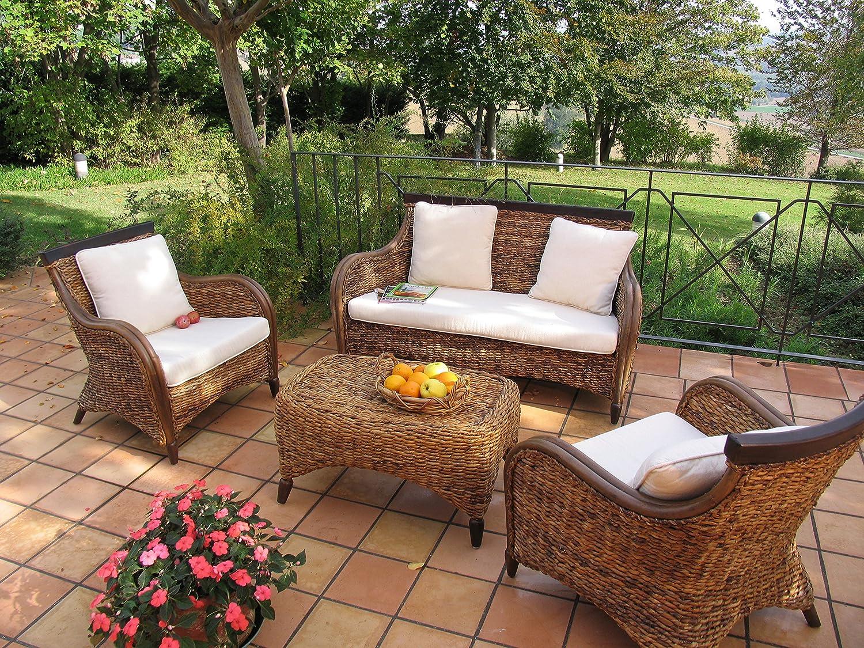 Salotti giardino rattan salotto pezzi in banano e rattan for Divani per esterno offerte
