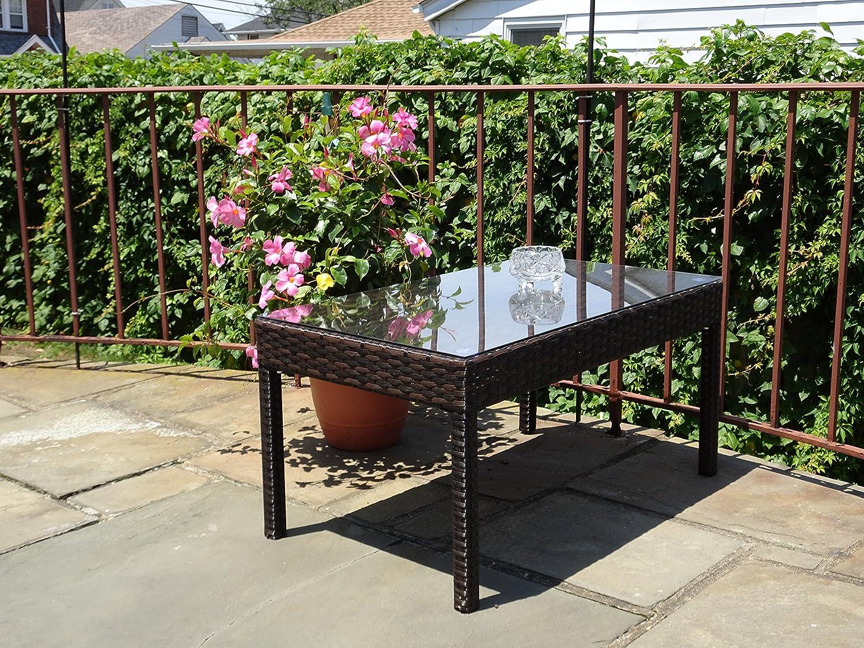 Patio Resin Outdoor Garden Yard Wicker Rectangular Coffee Table w Glass Dark Brown Color