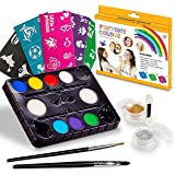 Face Paint Kits. Free 40 Stencils Included. Use for Body Painting, Birthday, Halloween ,fan Sports or Kids Makeup Parties.Our Face Painting Contains Palette 8 Colors, Glitter,Brushes & Sponges