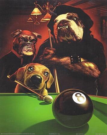 8 x 10 Póster con diseño de perritos jugando de billar bola ocho ...