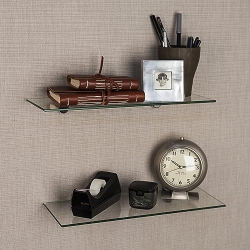 Danya B Set of 2 Clear Glass Floating Shelves with Chrome Brackets