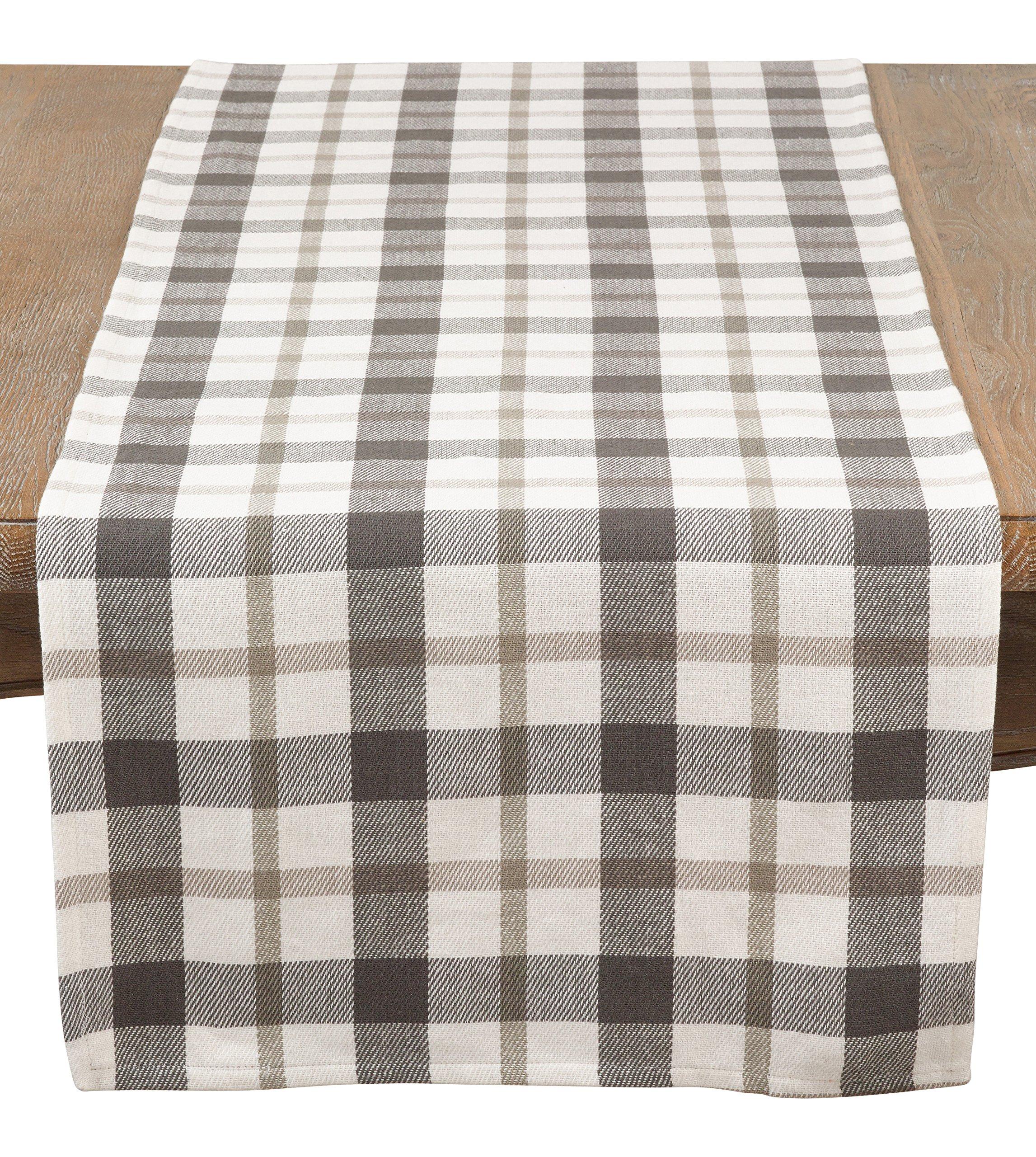 SARO LIFESTYLE Yuri Collection Plaid Design Cotton Table Runner, 16'' x 72'', Grey