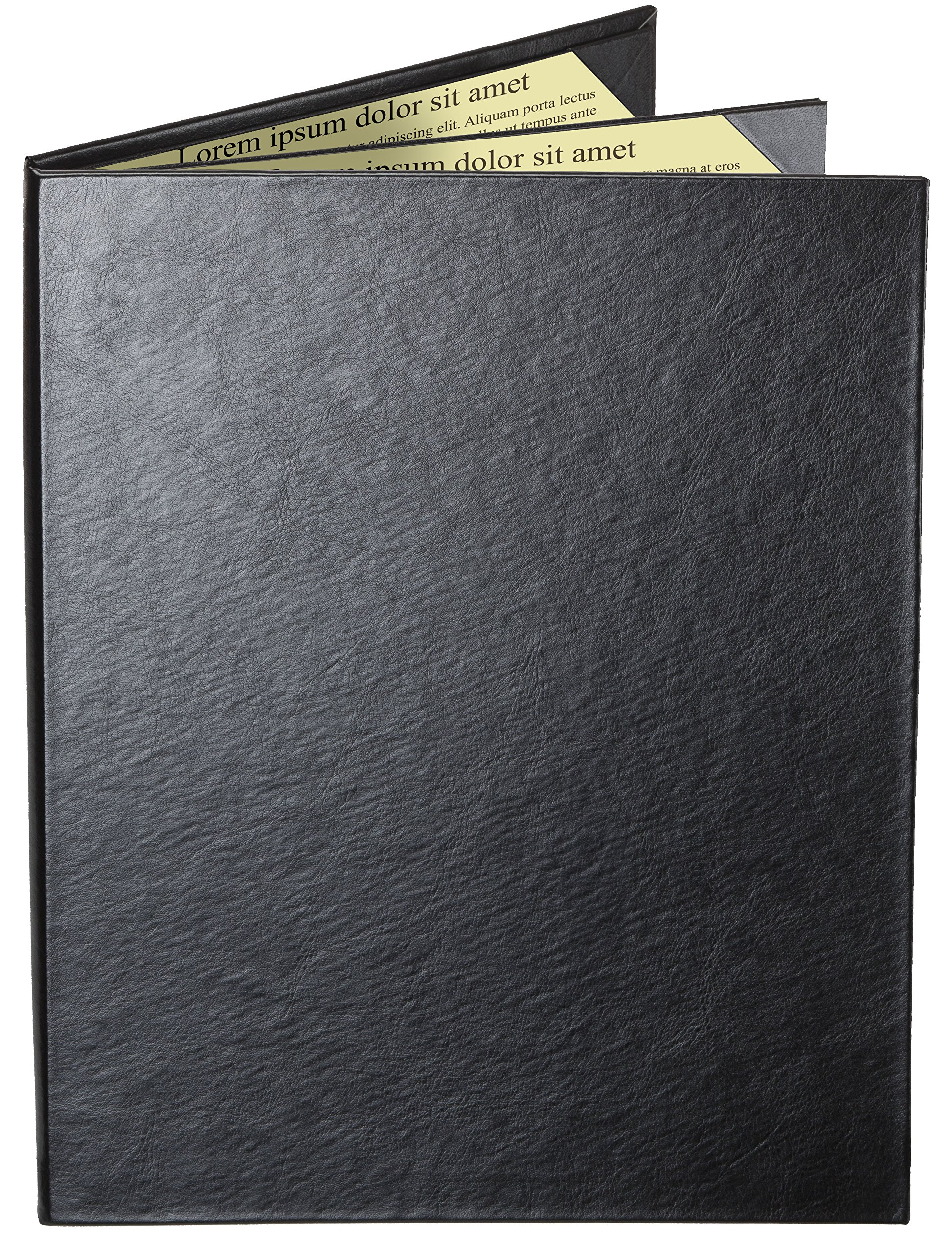Case of 5 Cascade Casebound Menu Covers #8039 BLACK TRIPLE PANEL - 4-VIEW - 8.5'' WIDE x 11'' TALL - WATERFALL EDGE. Interior album-style corners. SEE MORE - Type MenuCoverMan in Amazon search.