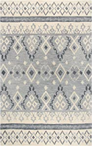 Rizzy Home Opulent Collection Wool Area Rug, 5' x 8', Natural/Gray/Dark Gray Tribal Motif