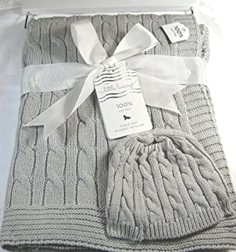 b7737f79d9 Amazon.com   Little Luxury Baby Blanket and Baby Cap Cable Knit Gray ...