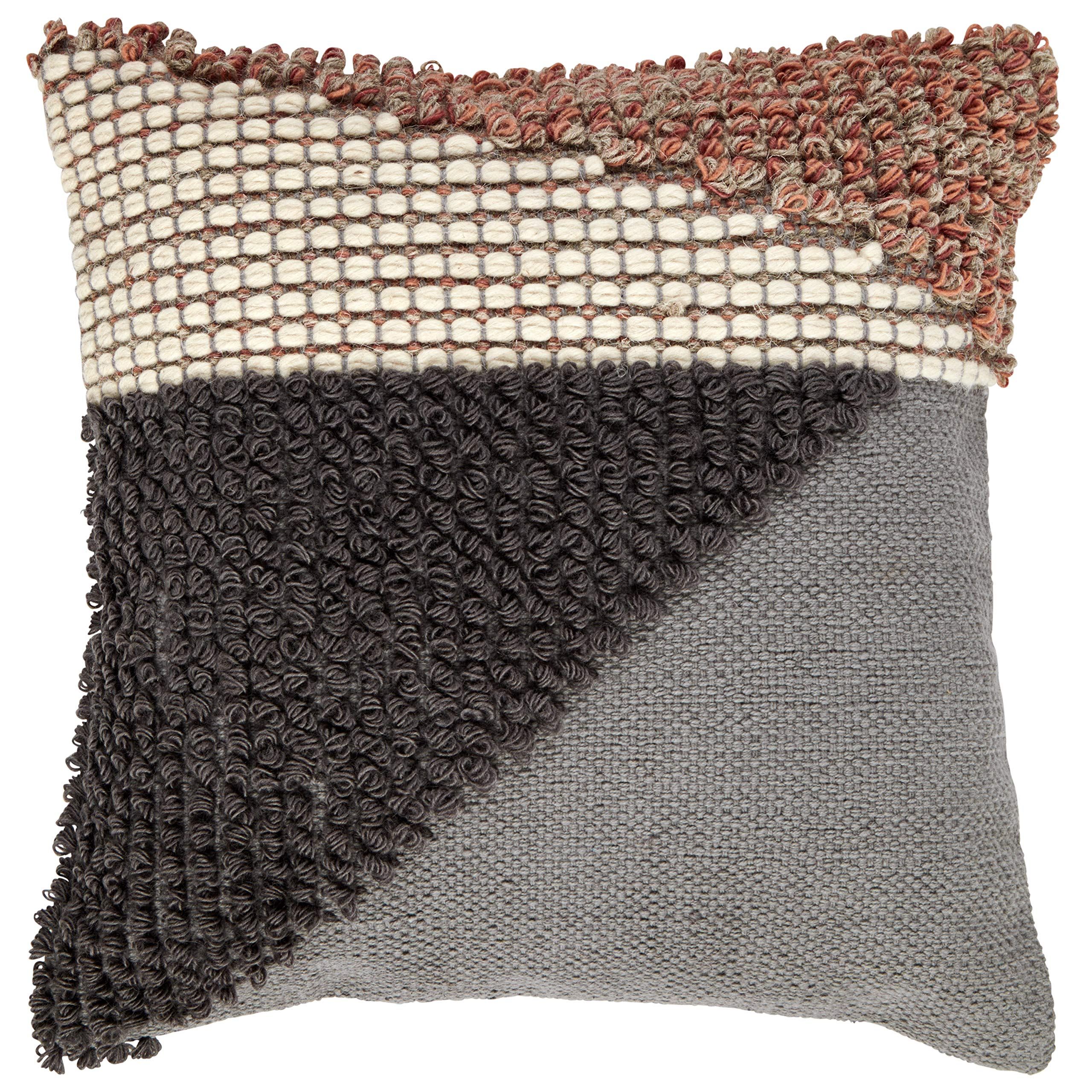 Rivet Modern Multi-Texture Throw Pillow - 18 x 18 Inch, Gray / Red by Rivet