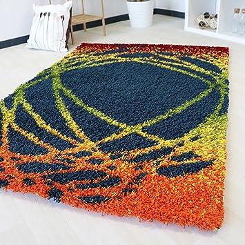 Amazon De Shaggy Hochflor Teppich Mit Multi Farben Muster In 5