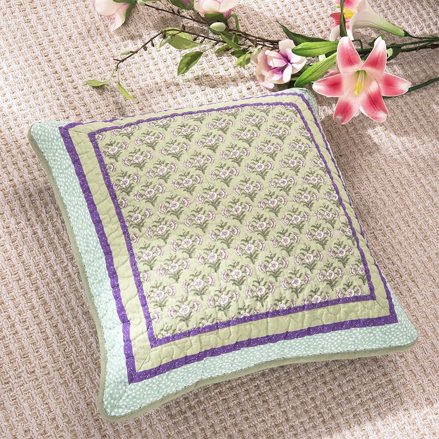 DaDa Bedding Set of Two - Bohemian Frosted Pastel Gardenia Patchwork - Quilted Square Pillow Cushion Covers - Bright Vibrant Floral Paisley Blue Lavender Green