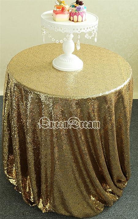 Amazon.com: QueenDream Glitter Black Gold Sequin Tablecloth 72 ...