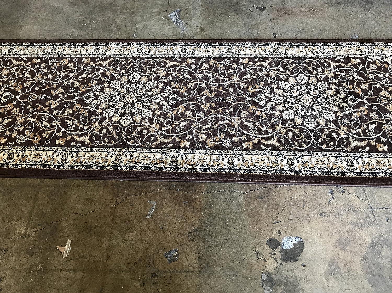 Traditional Long Persian Oriental Runner Rug Dark Brown 330,000 Point Design 603 (31 Inch X 9 Feet 10 Inch) 91BSN5jz82LSL1500_