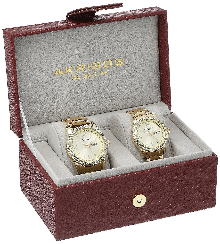 Akribos XXIV Men s and Women s AK888 Watch with Yellow Gold Dial and Bracelet Ensemble Set