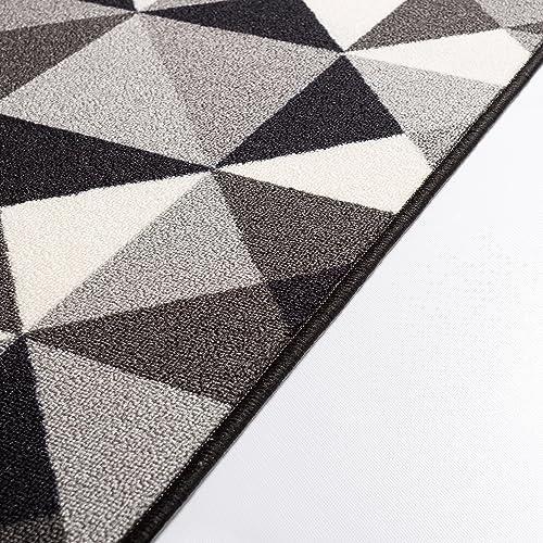 Well Woven Kings Court Vector Modern Grey Geometric 7 10 x 9 10 Indoor Outdoor Area Rug