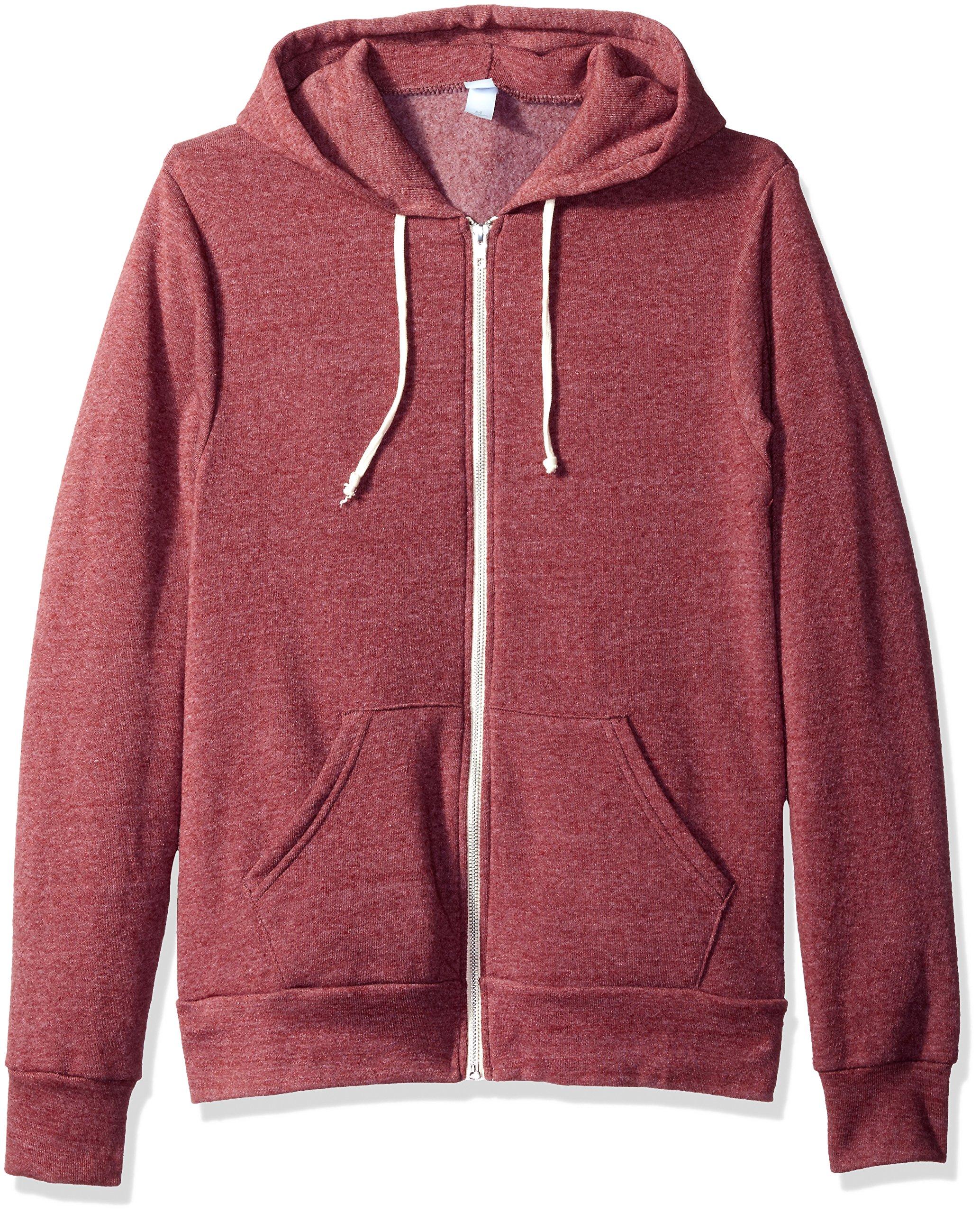 Alternative Men's Rocky Zip Hoodie Sweatshirt, Eco True Currant, M