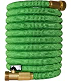 2017 Improved Design, Strongest Expandable Garden Hose with Triple Layer Latex Core, 48 Ply Extra Strength Cover and Brass Connectors, by Golden Spearhead, 100-Feet, Light Green