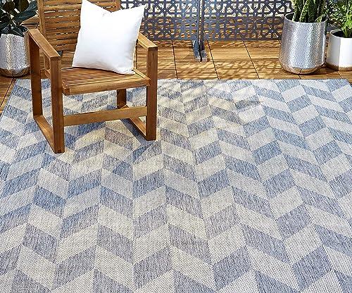 Home Dynamix Patio Country Calla Area Rug, 9 2 x12 5 Rectangle, Blue Gray