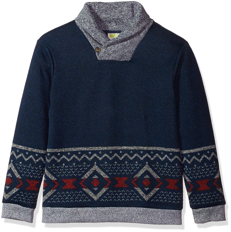 Crazy 8 Boys' Little Long Sleeve Shawl Collar Aztec Print Sweater