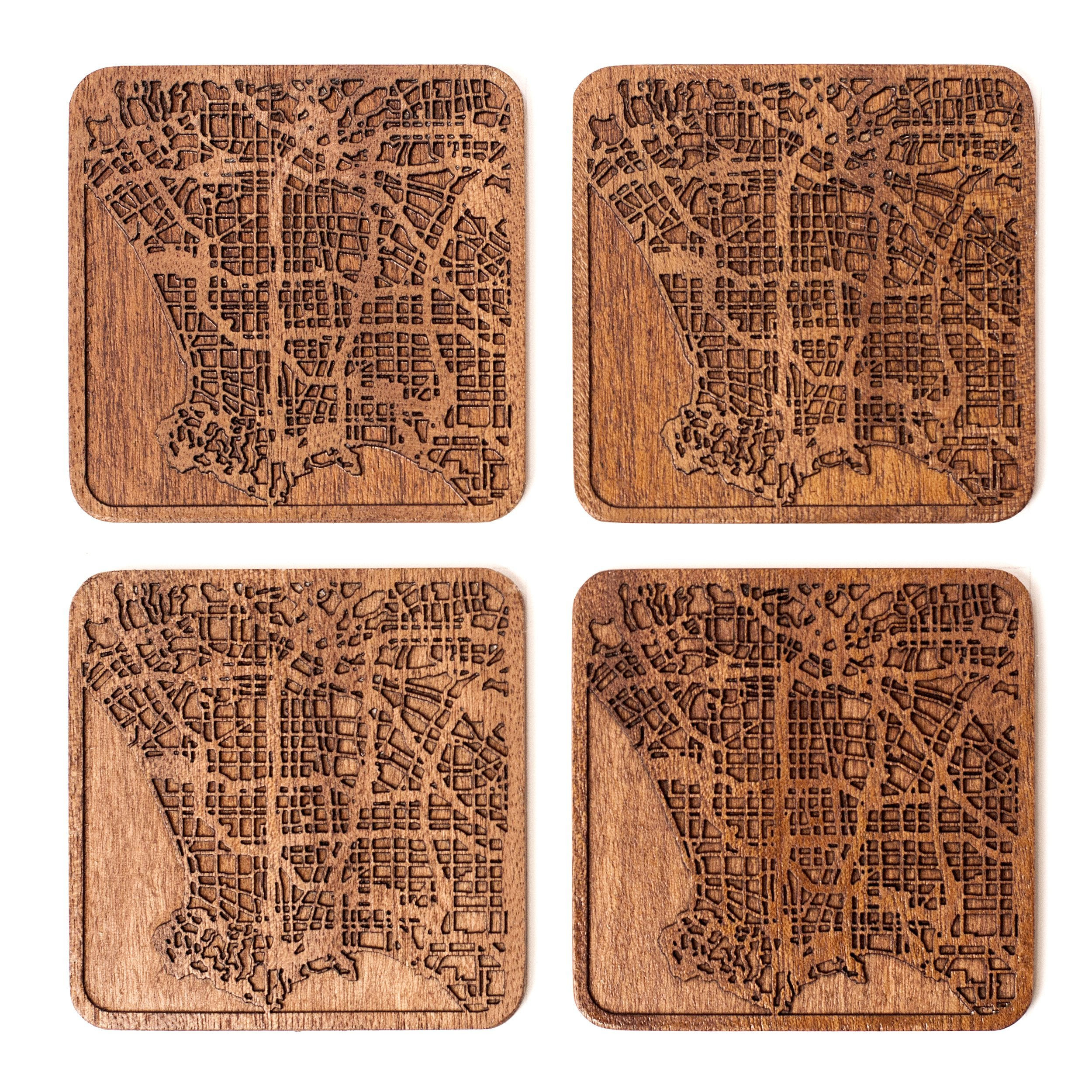 Los Angeles Map Coaster by O3 Design Studio, Set Of 4, Sapele Wooden Coaster With City Map, Handmade