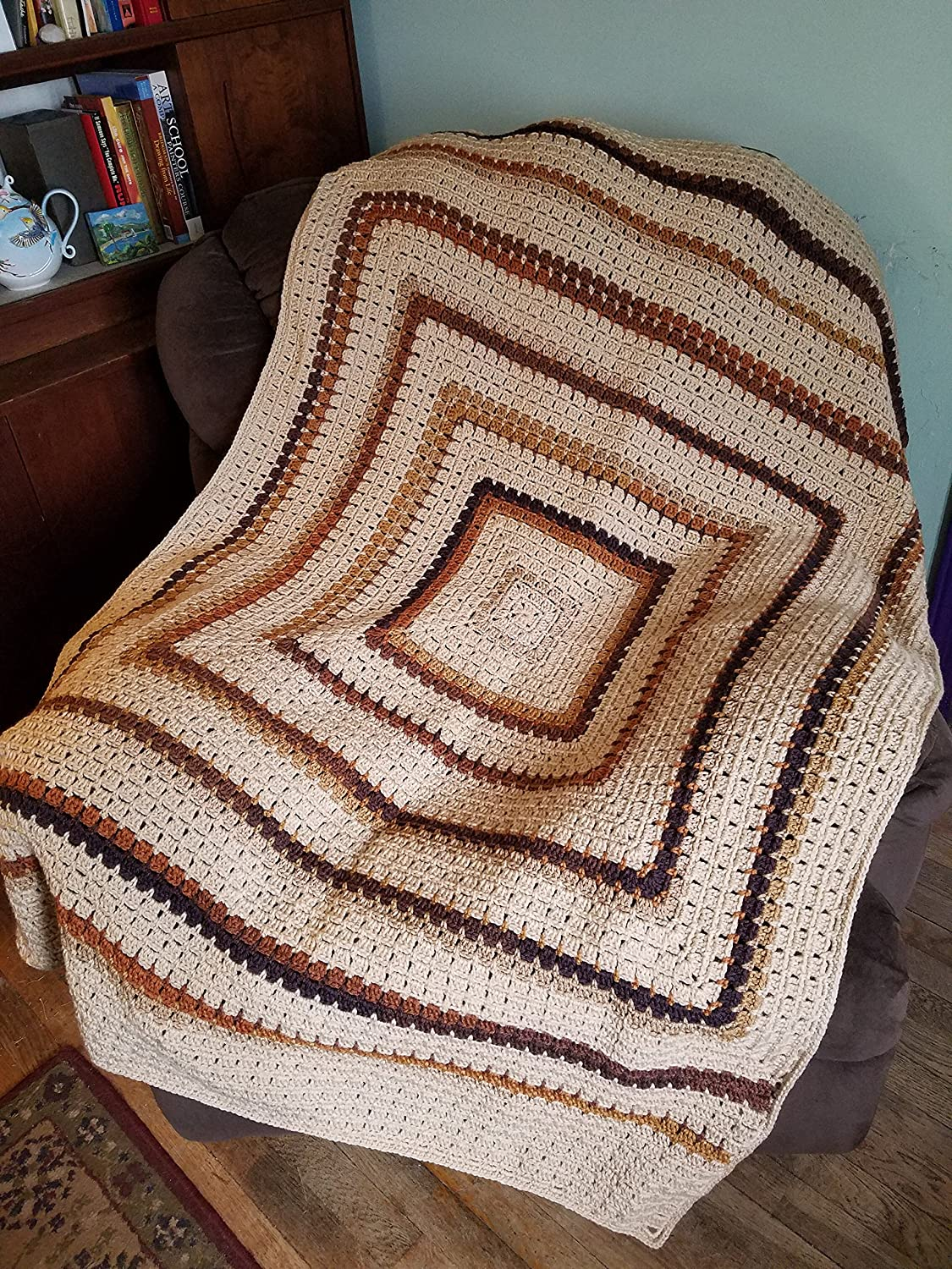 Brown, Tan, and Beige Hand Crocheted Throw - Heirloom Quality, One of a Kind
