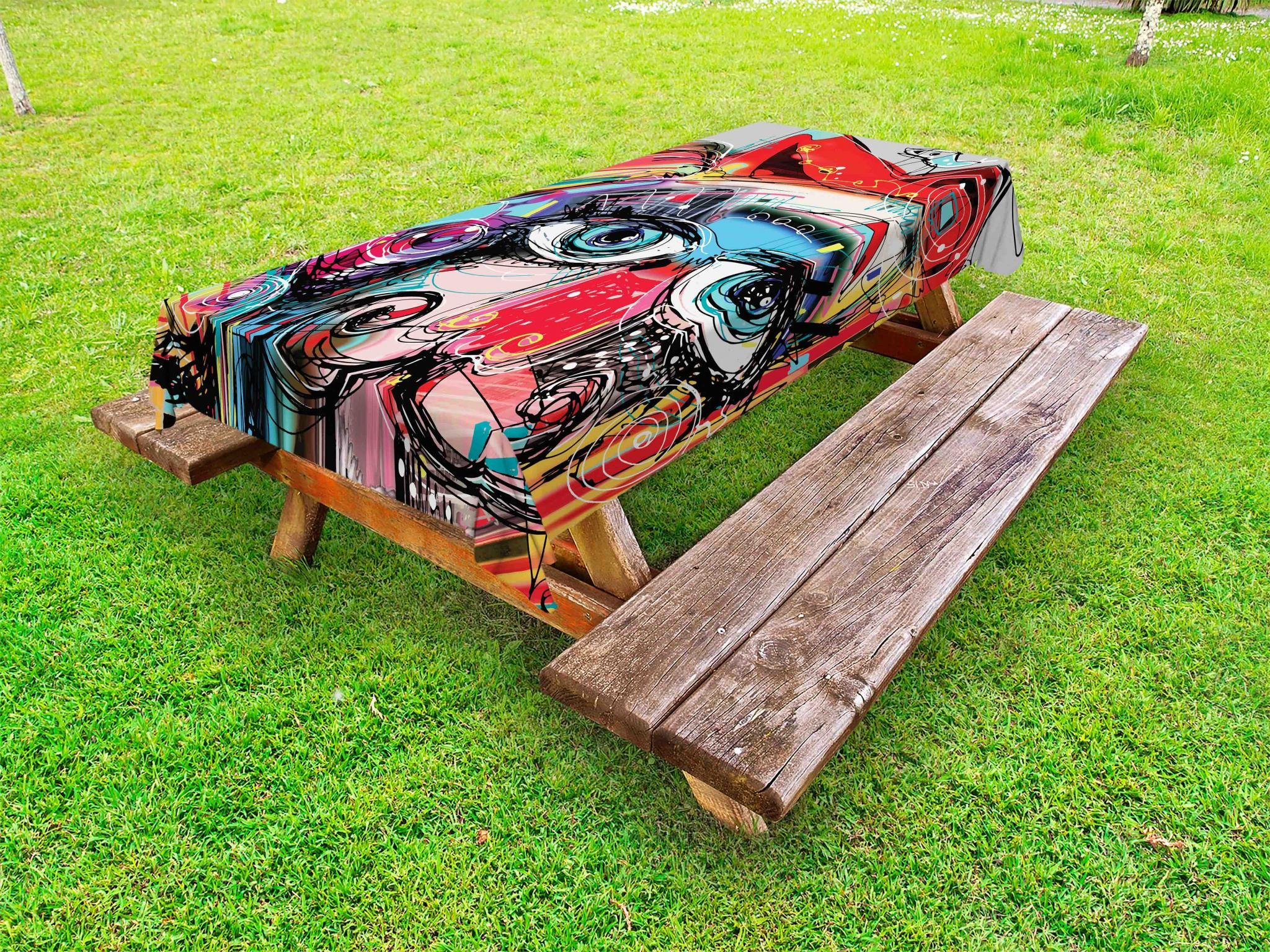 Ambesonne Art Outdoor Tablecloth, Grafitti Like Sketchy Style Colorful Painting with Human Like Face Dog Animal Image, Decorative Washable Picnic Table Cloth, 58 X 120 inches, Multi Colored