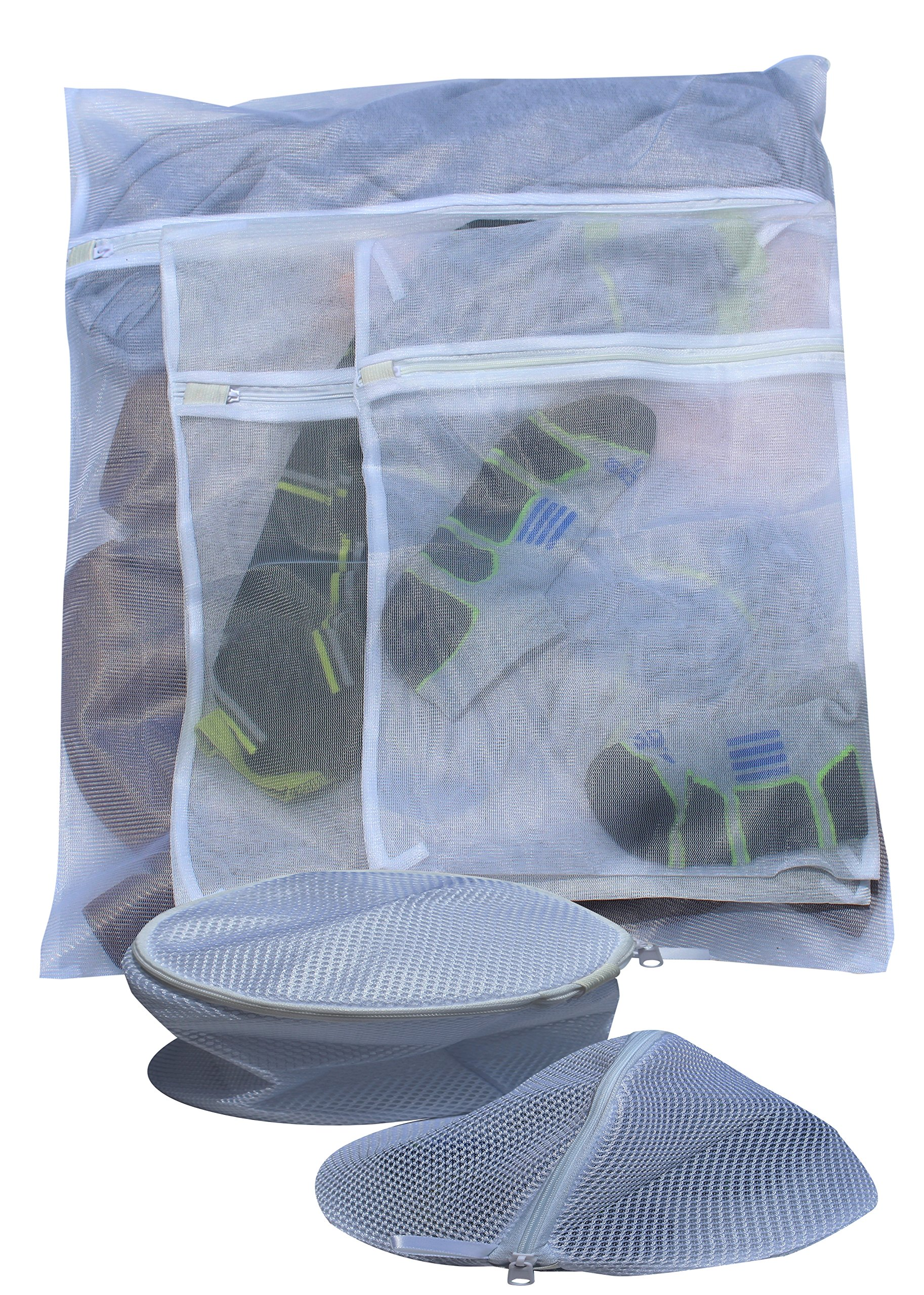 Mesh Laundry Bags - Set of 5 - Zippered Mesh Bags - 1 Large, 2 Medium and 2 Small - Machine Wash any and all clothes- Protect your best clothes