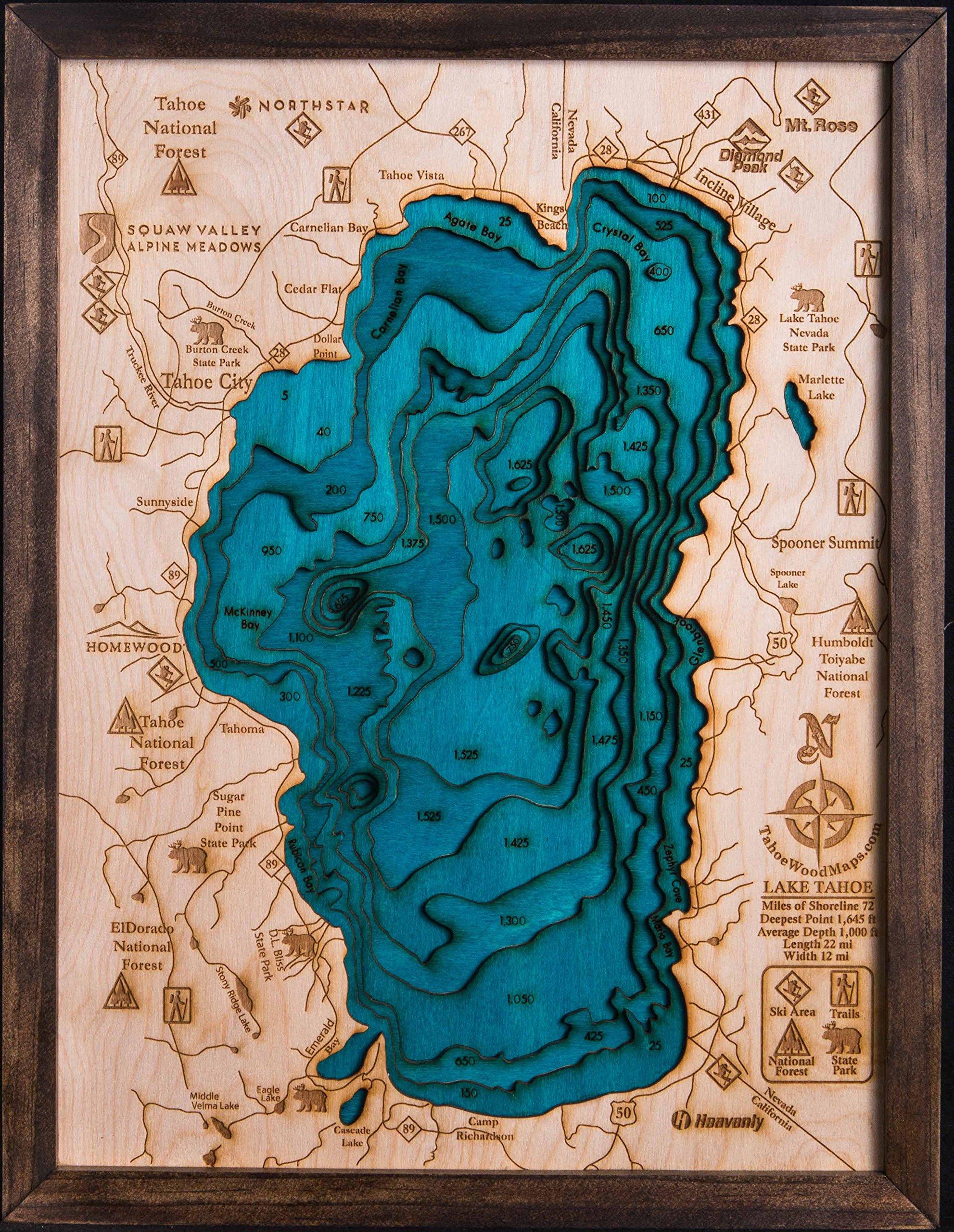Beautifully Detailed! BLUE Lake Tahoe 3-D Wood Map. 13W x 17L