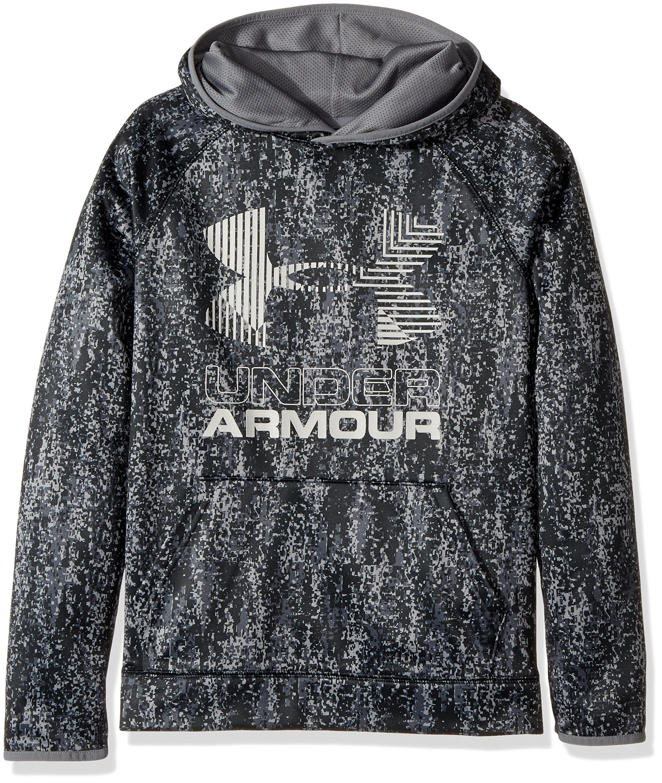 Under Armour Boys' Armour Fleece Printed Big Logo Hoodie, Black /Black, Youth Small by Under Armour