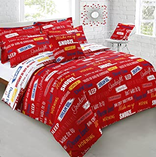 Double Bed Printed Slogans Reversible Duvet Cover   Pillowcase Bedding Set  Red. Deconovo  Urban Graffiti  Queen Size Duvet Quilt Cover  200 Thread