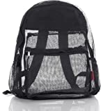 Large, Clear Mesh Backpack For Kids,Men, Women- 9 Colors- Transparent/See Through BLACK