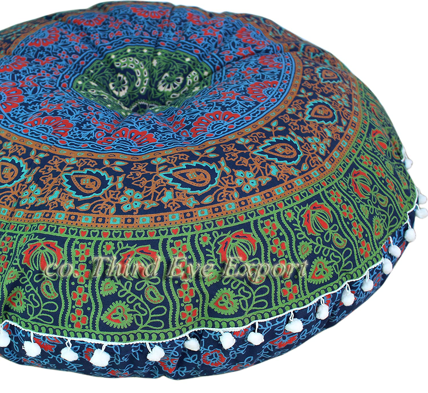 Third Eye Export - 32 In Mandala Barmeri Large Round Floor Pillow Cover Cushion Meditation Seating Ottoman Throw Cover Hippie Decorative Zipped Bohemian Pouf (Purple) FPL-BAR-PPL-1