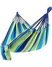 SONGMICS Hängematte Mehrpersonen 210 x 150 cm, Belastbarkeit bis 300 kg Grün-Blaue Streifen