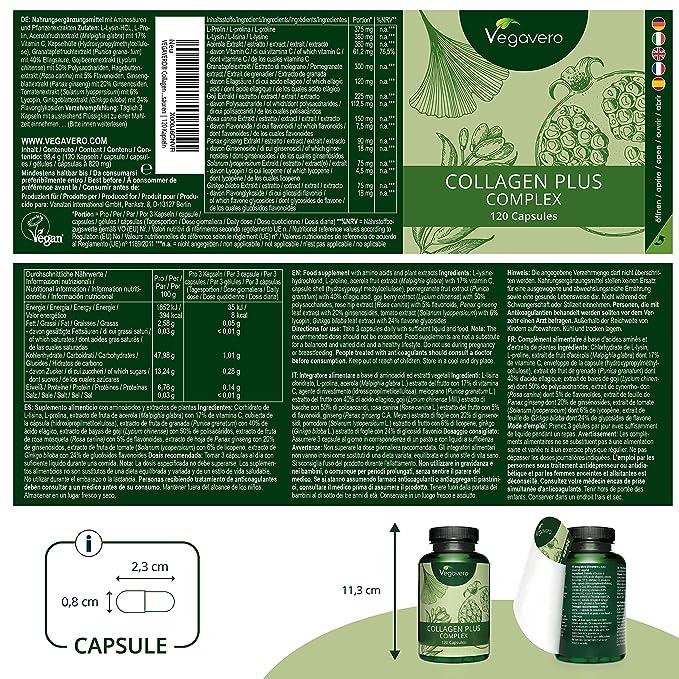 Complejo Colágeno Vegavero® | 100% VEGANO | Con Vitamina C + Ginkgo Biloba + Ginseng | 120 Cápsulas | Piel + Articulaciones + Pelo | Cosmética Natural ...