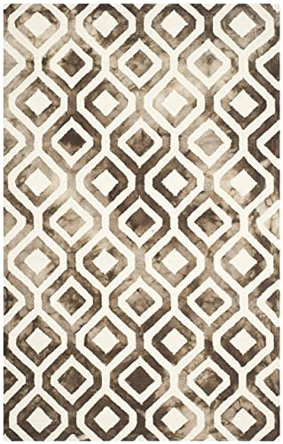 Safavieh Dip Dye Collection DDY679L Handmade Geometric Watercolor Ivory and Chocolate Wool Area Rug 4 x 6