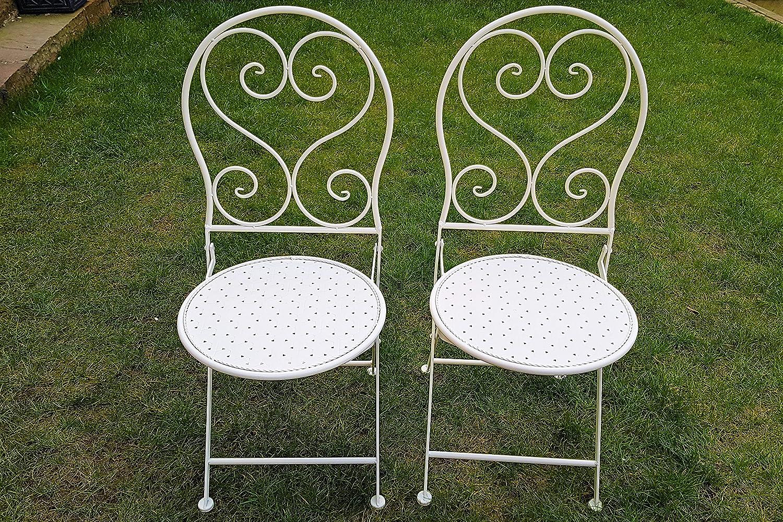 Height 95cm x Width 40cm Slate /& Rose Metal Chairs Cream