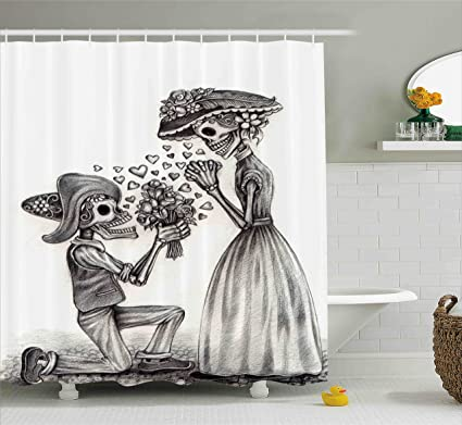 Amazon.com: Ambesonne Day Of The Dead Decor Shower Curtain, Mariage on