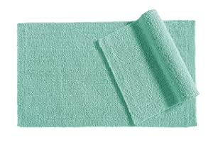 "AmazonBasics Everyday Cotton Bath Rug Set - 17"" x 24"" & 20"" x 34"", Calm Blue"