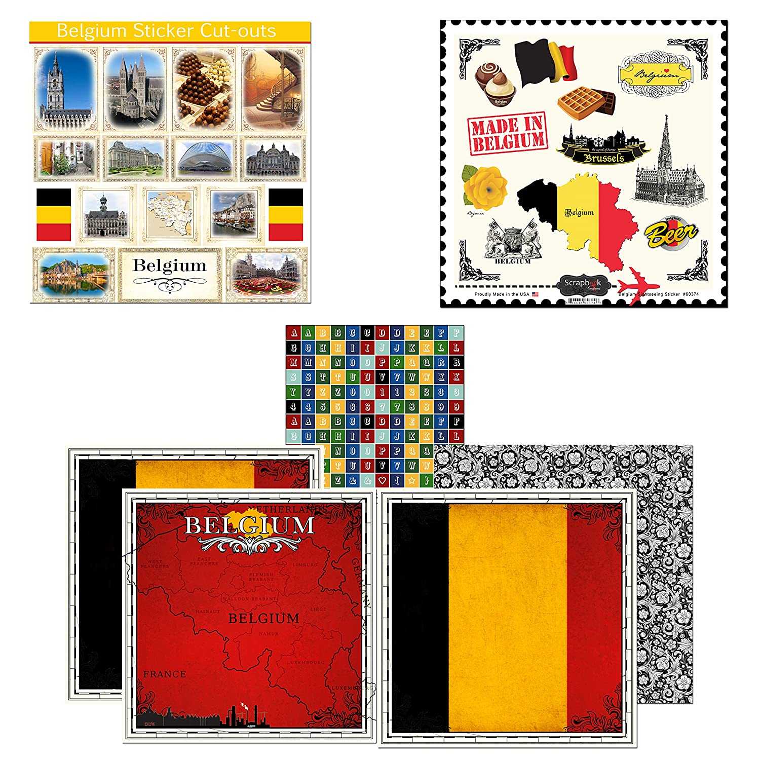 Scrapbook Customs Themed Paper & Stickers Scrapbook Kit, Belgium Sightseeing Inc. 17553