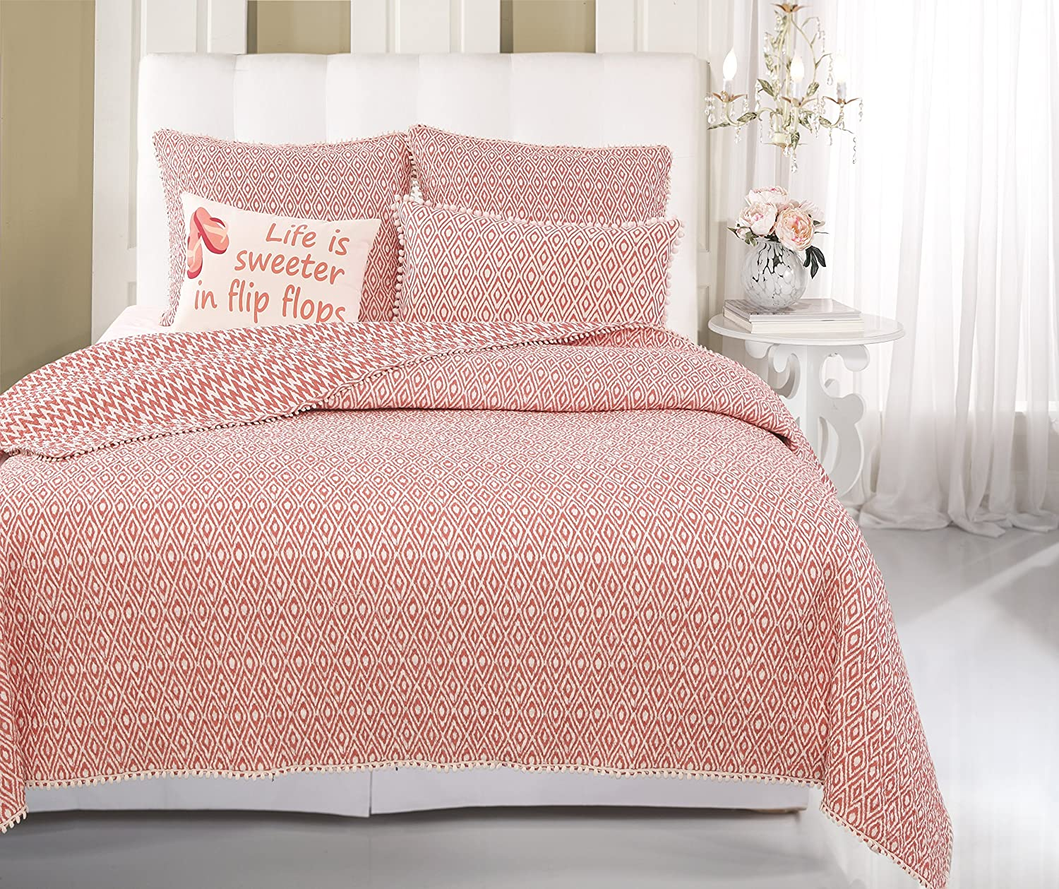 Greenland Home 2-Piece Belize Quilt Set, Coral, Twin Greenland Home Fashions GL-1603RT