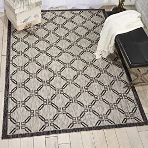 "Nourison Garden Party Ivory/Charcoal Indoor/Outdoor Area Rug 3 Feet 6 Inches by 5 Feet 6 Inches,3'6""X5'6"""
