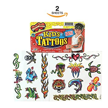 Amazon.com: TATTOOS FOR KIDS ~ TEMPORARY TATTOOS FOR KIDS - 2 SHEETS ...