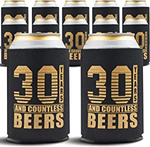 30th Birthday Decorations - Beverage Can Cooler Sleeves - Dirty 30 Birthday Party Favors - 30th Birthday Gift Ideas for Men & Women, Insulated Holder Thirty Year Old Birthday, 12-Pack, Black & Gold