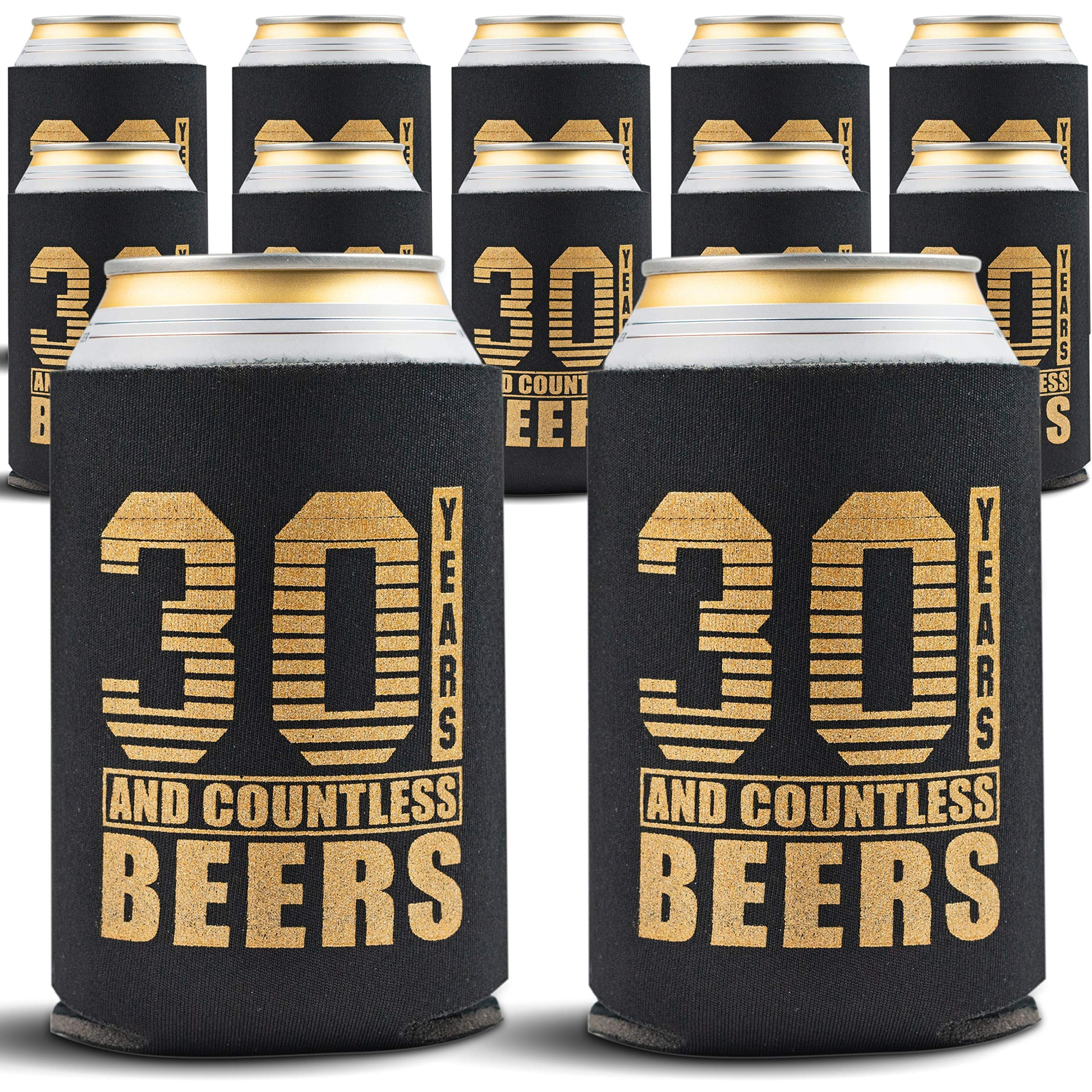30th Birthday Decorations for Him - 12-Pack Can Coolers - Dirty 30 Birthday Party Supplies - 30th Birthday Gifts for Men or for Her, 12 Insulated Sleeves for Thirty Birthday, Black with Gold Lettering by Gold Coastal