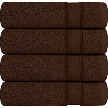 Utopia Towels Premium Bath Towels, 4 Pack, 700 GSM Towels, Dark Brown