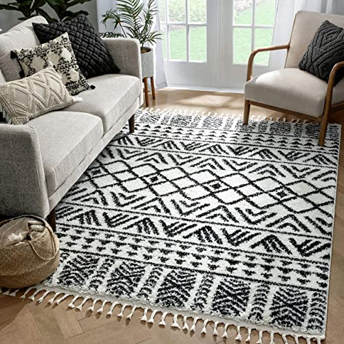 Well Woven Melody Tayanna Ivory Moroccan Geometric Shag 5'3″ x 7'3″ Area Rug
