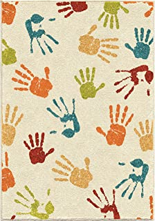 """product image for Orian Rugs Kids Court Handprints Area Rug, 3'10"""" x 5'2"""", Ivory"""
