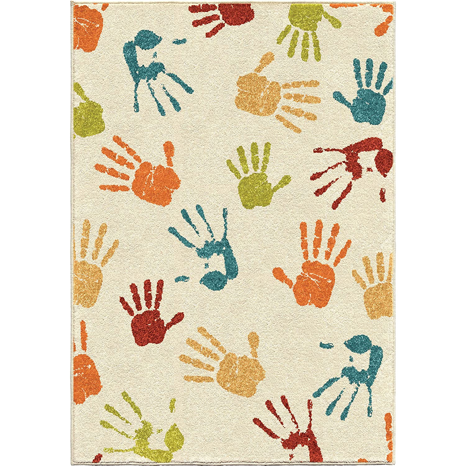 Amazon Com Orian Rugs Kids Court Handprints Area Rug 5 2 X 7 6