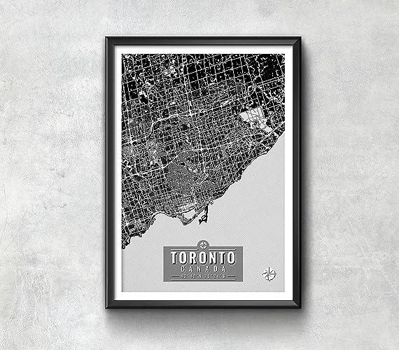 Amazon.com: Toronto Canada Map with Coordinates, Toronto Wall Art ...