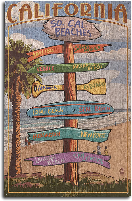 Lantern Press Southern California Beaches - Destinations Sign (10x15 Wood Wall Sign, Wall Decor Ready to Hang)