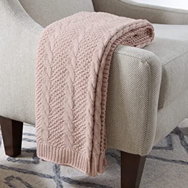 Stone & Beam Transitional Chunky Cable Knit Throw Blanket 100% Cotton, Blush