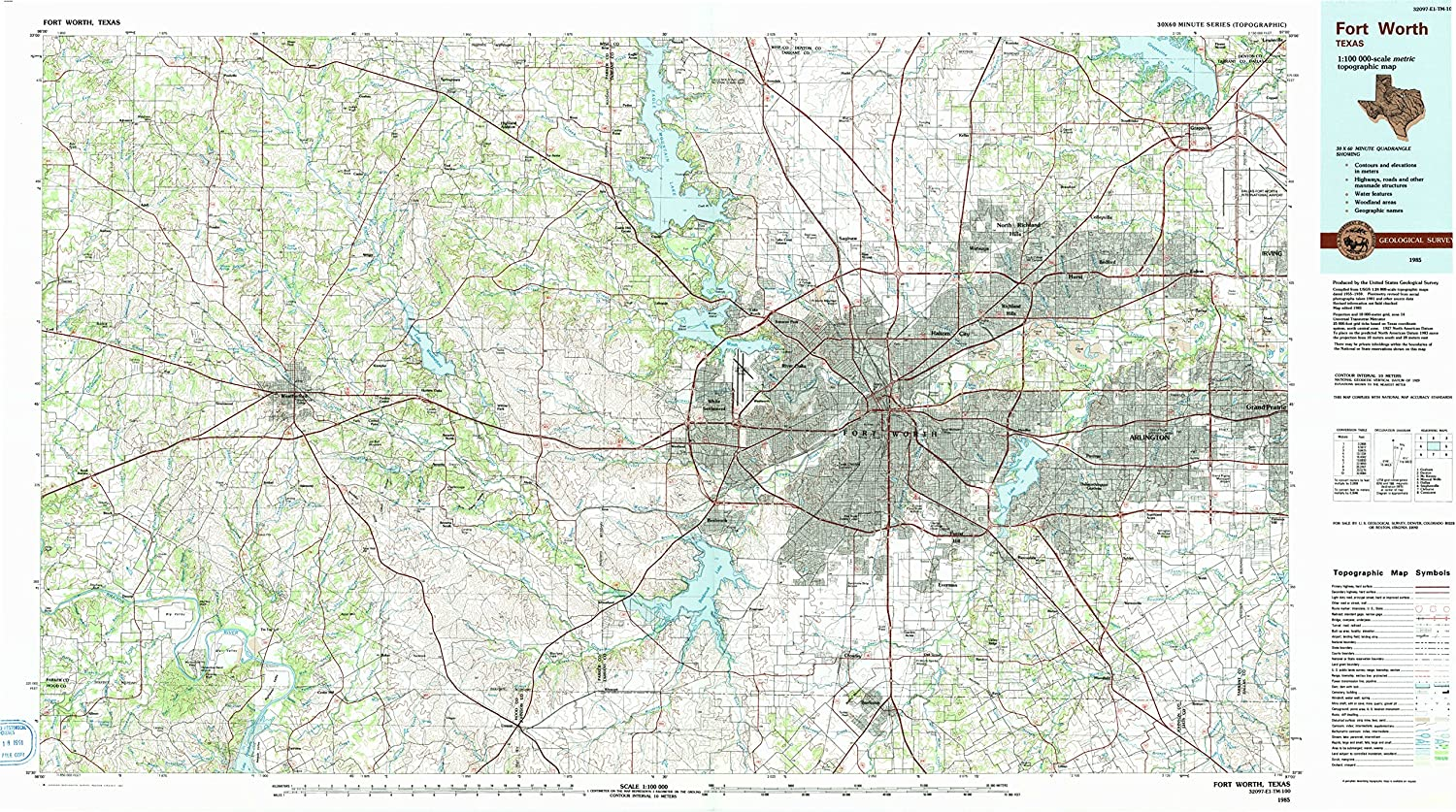 Amazon.com : YellowMaps Fort Worth TX topo map, 1:100000 Scale, 30 X ...