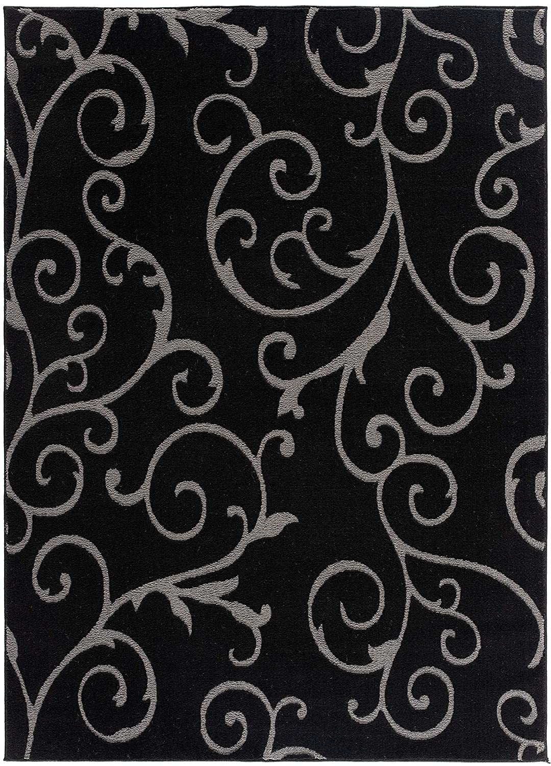 Amazon Com Bella Collection Floral Pattern Area Rug 00968a Black